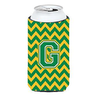 Letter G Chevron Green and Gold Tall Boy Beverage Insulator Hugger