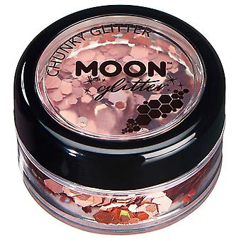 Holographic Chunky Glitter by Moon Glitter – 100% Cosmetic Glitter for Face, Body, Nails, Hair and Lips - 3g - Rose Gold