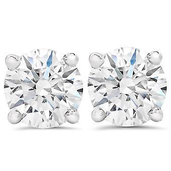 2CT rond diamant taillé vis arrière goujons 14K or blanc