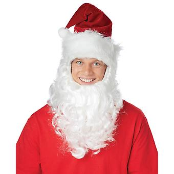 Santa Claus Getup Christmas Men Costume Hat Beard Kit