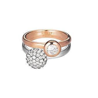 ESPRIT signore anello bicolor argento zirconi doppio abbraccio ESRG92396A1