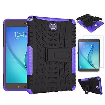 Hybrid outdoor bag purple for Samsung Galaxy tab A 9.7 T550 + 0.4 tempered glass