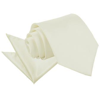 Satynowy krawat kość słoniowa zwykły & placu kieszeni zestaw
