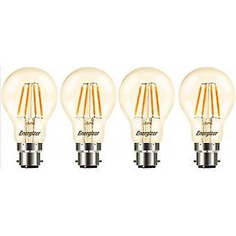 4 X Energizer GLS Globe Antique Gold Finish LED Filament Energy Saving Light Bulb B22 BC Bayonet Cap Fitting [Energy Class A+]