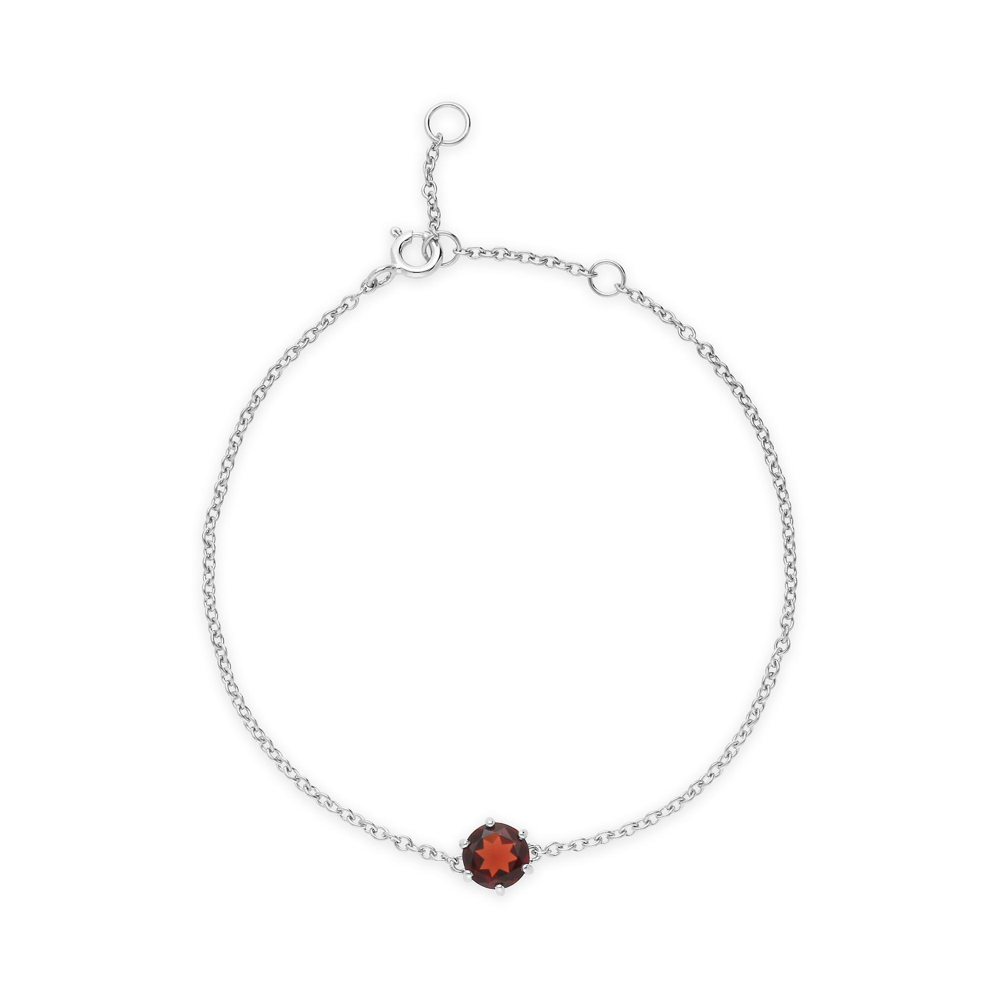 Gemondo Sterling Silver Garnet January Single Stone 19cm Bracelet