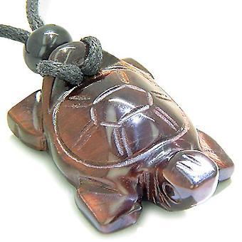 魔除けお守り亀赤虎目宝石邪眼保護力彫刻ペンダント ネックレス