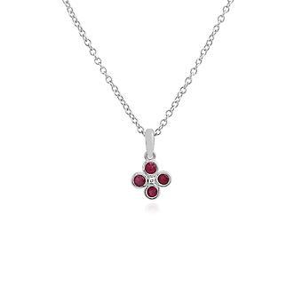 Gemondo Sterling sølv 0,25 ct Ruby klynge vedhæng på 45cm kæde