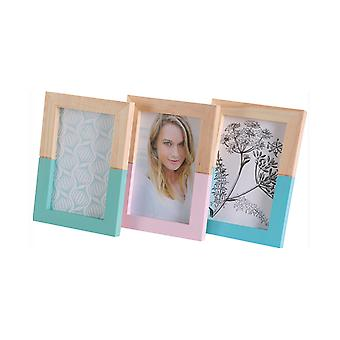 «Home affaire portrait frames» pure living «(set of 3) made of real wood to the 10 x 15 cm make».