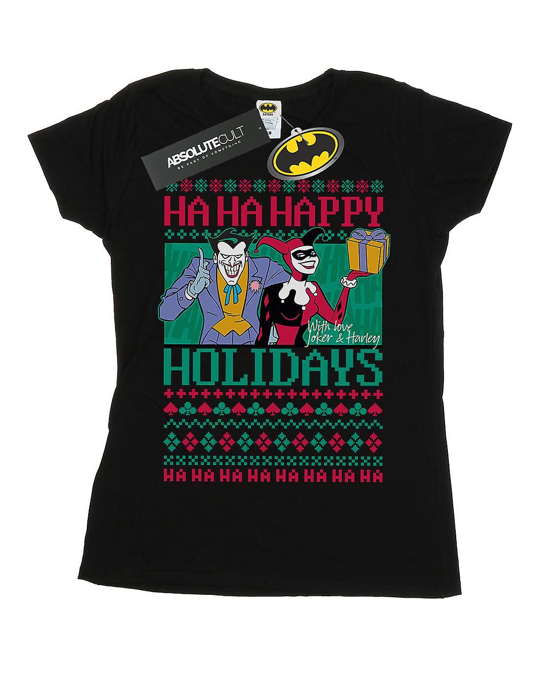 DC Comics Women's Joker And Harley Quinn Ha Ha Happy Holidays T-Shirt