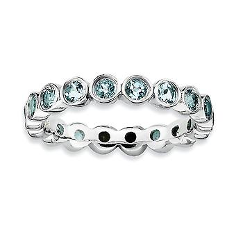 925 Sterling Silver Bezel Polished Patterned Rhodium plated Stackable Expressions Aquamarine Ring Jewelry Gifts for Wome