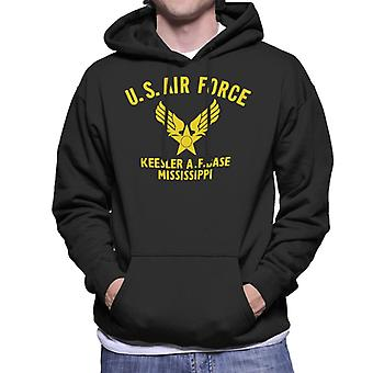 US Airforce Keesler AF Base Mississippi Yellow Text Men's Hooded Sweatshirt