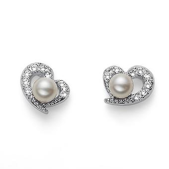 Oliver Weber Post Earring Pearl Love Rhodium Crystal