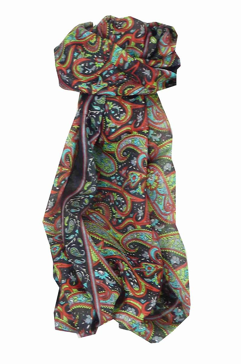 Mulberry Silk Traditional Long Scarf Jald Black by Pashmina & Silk