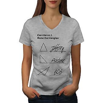Tiriangles Math Women GreyV-Neck T-shirt | Wellcoda