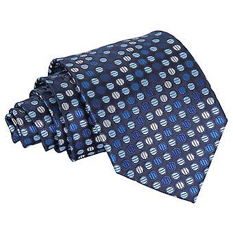 Klasyczny krawat niebieski, srebrny & Royal kratę Polka Dot