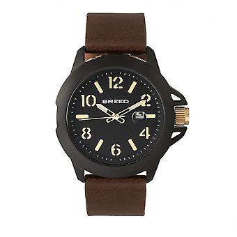 Breed Bryant Leather-Band Watch w/Date - Brown/Gold