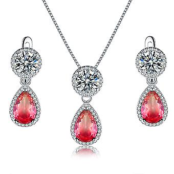 925 Sterling Silver Halo Round And Teardrop Pink Colour Set