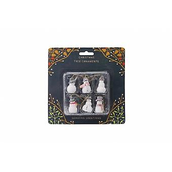 Set Of 6 Snowmen Christmas Tree Decorations