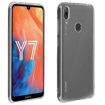 Silicone case, Glossy & matte back cover for Huawei Y7 2019 - Transparent