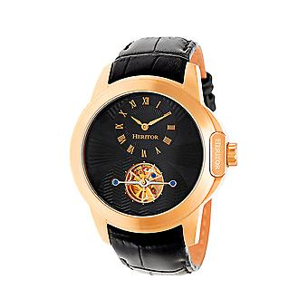 Heritor Automatic Windsor Semi-Skeleton Leather-Band Watch - Rose Gold/Black