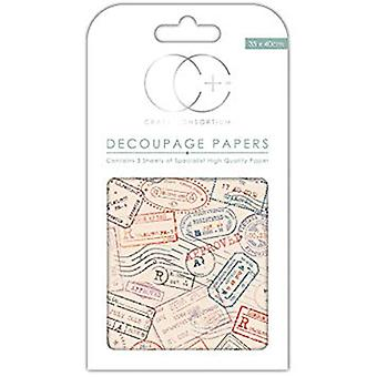 Craft consortium Air Mail Decoupage Papers (CCDECP271)