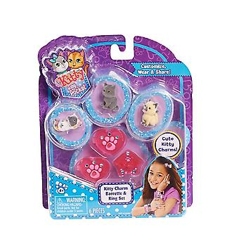 Kitty In My Pocket 3 Charm Kitties Barrette And Ring Set (pink)