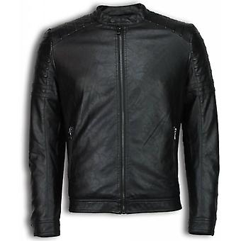 Imitation Leather Jacket - Leather Jacket - Biker Jack Ribbing Shoulder - Black