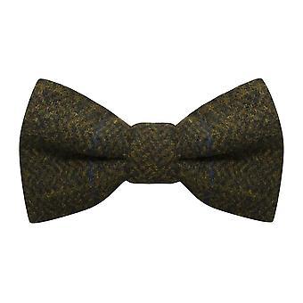 Luxury Juniper Green Herringbone Check Bow Tie, Tweed