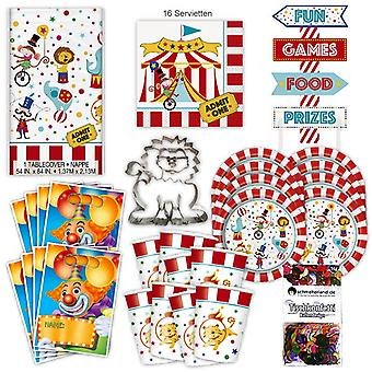 Circus arena party set XL 44-teilig 8 guests at circus party birthday party package
