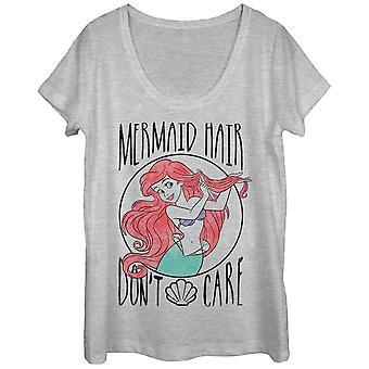 Little Mermaid Hair Don't Care Ladies Grey Scoop Neck Tee Shirt