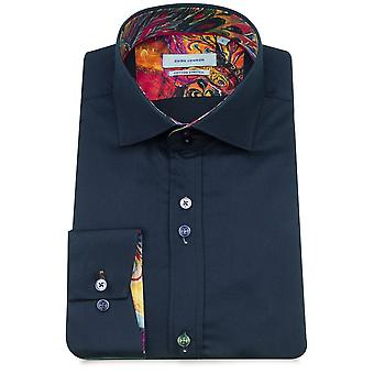 Guia Londres Multicolour pavão guarnição impressão pura algodão manga comprida camisa dos homens