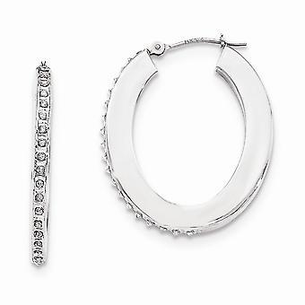 14k White Gold Diamond Fascination Flat Oval Hoop Earrings Jewelry Gifts for Women - .010 dwt