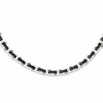 925 Sterling Silver and Ruthenium plated Woven Curb Necklace 18 Inch Jewelry Gifts for Women