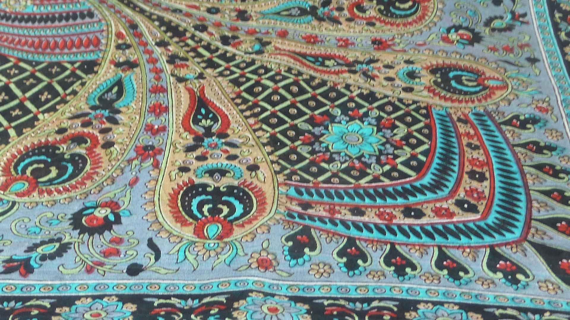 Mulberry Silk Traditional Square Scarf Zamjeet Black by Pashmina & Silk
