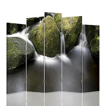 Divisor de habitación decorativa, 5 paneles, doble cara, lona, piedras en el río