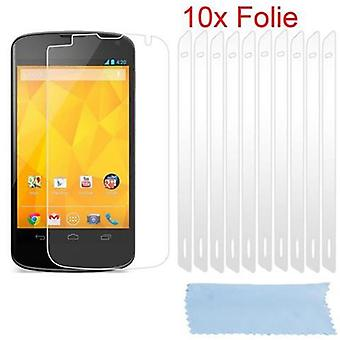 Cadorabo Protective Film for LG Google NEXUS 4 Case Cover - 10 pieces of highly transparent protective films against dust, dirt and scratches