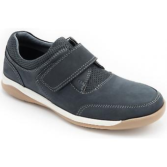 Padders Chiltern Mens Leather Wide (g Fit) Touch Fasten Shoes Navy