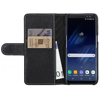 Case For Samsung Galaxy S8 Black Grained Card Holder In True Leather