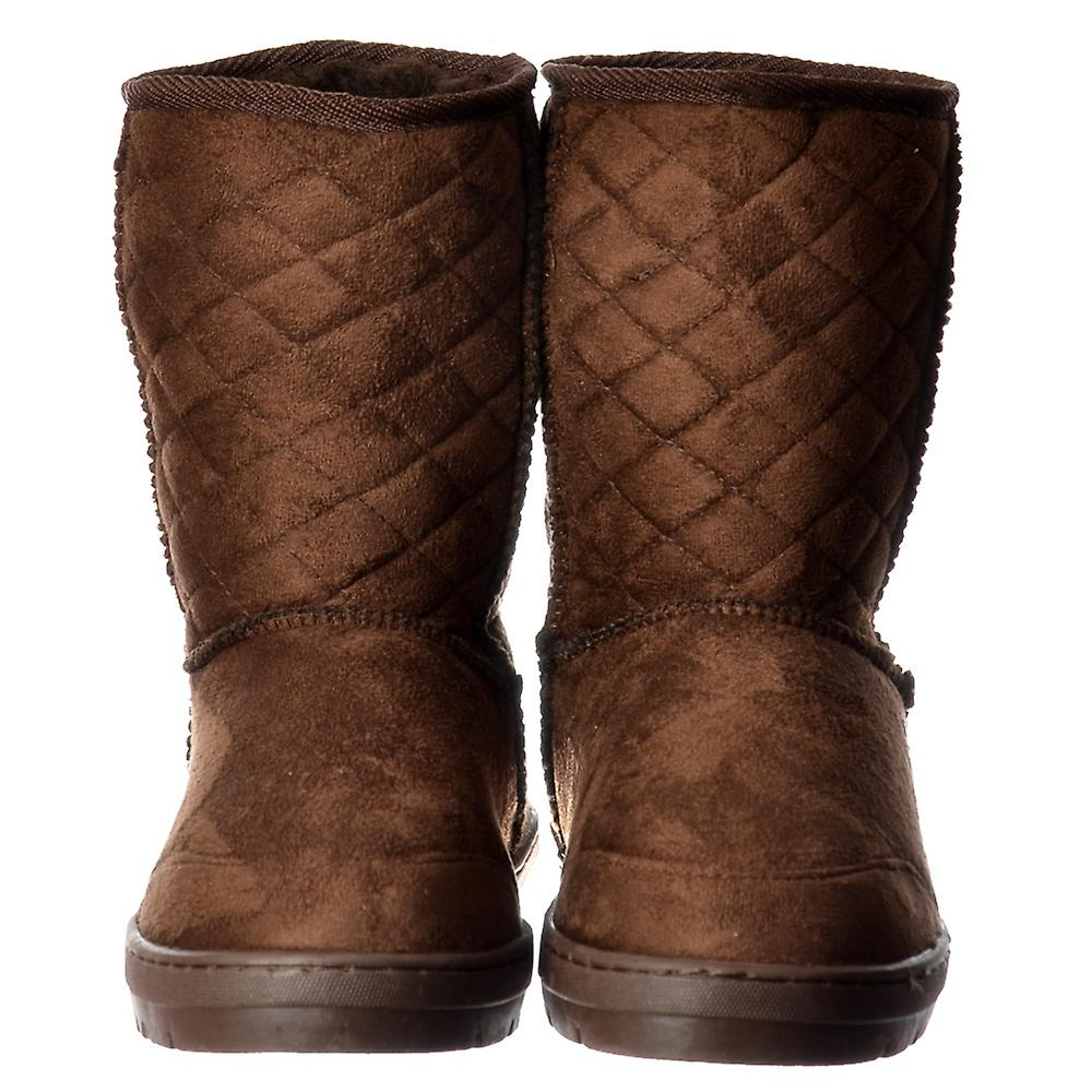 Ella Midi Quilted Fur Lined Flat Ankle Winter Slouch Boot