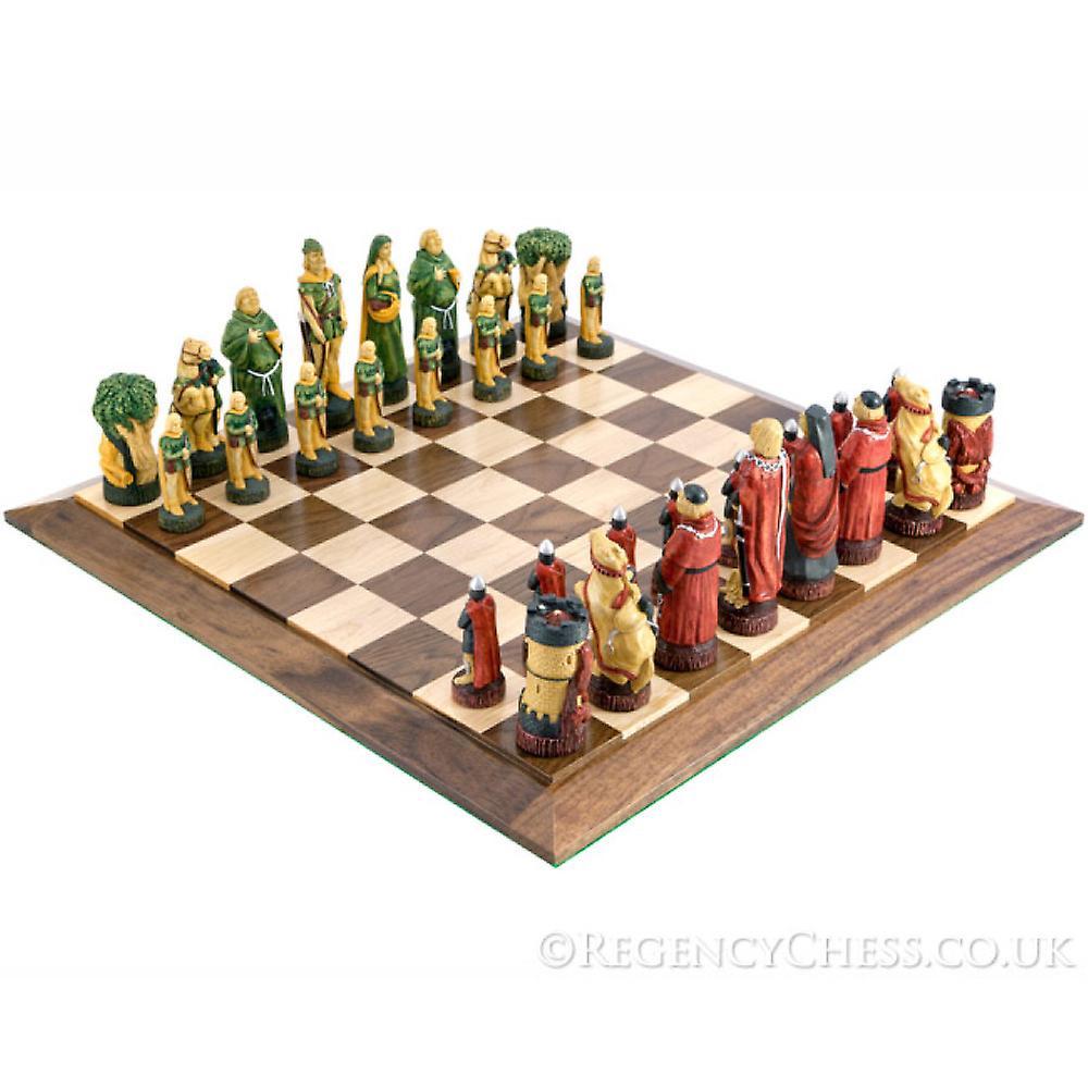 Robin Hood Hand Painted Walnut Chess Set