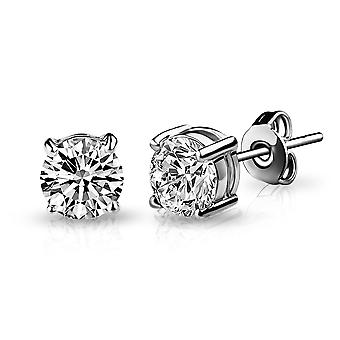 Silver 6mm earrings created with swarovski® crystals