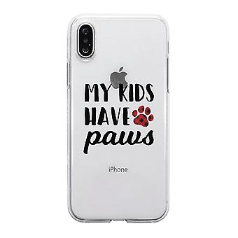 My Kids Have Paws Cute Dog Mom Clear Phone Case Best Christmas Gift