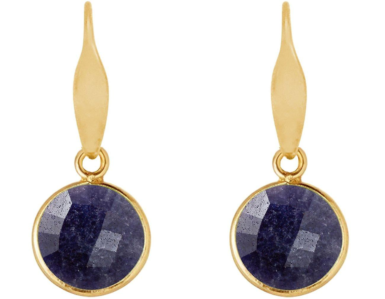 Gemshine Ohrringe blaue Saphiren Edelstein Tropfen 925 Silber, vergoldet, rose