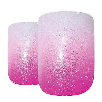 False nails by bling art pink gel ombre french squoval 24 fake medium tips