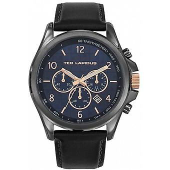 Ted Lapidus 5132403 - watch leather black case steel Anthracite dial Blue Man