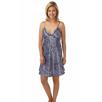 Ladies Quality Satin Snakeskin Print Sleeveless Chemise Nightdress Sleepwear