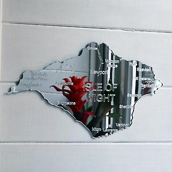 County Map of 'Isle of Wight' UK Engraved Acrylic Mirror