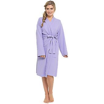 Ladies 100% Cotton Waffle Weave Design Knee Length Dressing Gown Nightwear Bathrobe