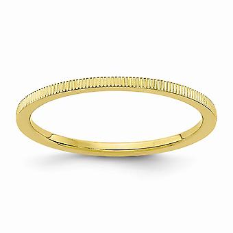 10ky 1.2mm Line Pattern Stackable Band Ring Jewelry Gifts for Women - Ring Size: 4 to 10