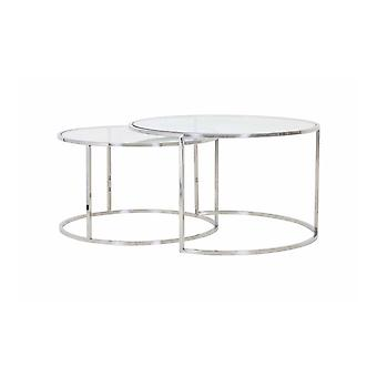 Light & Living Coffee Table Set Of 2 65x39 And 75x44cm Duarte Nickel And Glass